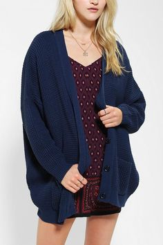 Coincidence & Chance waffle-knit oversized cardigan. Loose and cozy. #urbanoutfitters