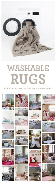 Brilliant idea! Washable rugs for playrooms, kids rooms, and nurseries! Comes in neutrals as well as colors for boys and girls rooms. Nice alternative to a playmat too.