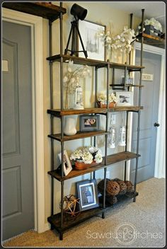 Build an industrial shelf using PVC pipe, Sawdust 2 Stitches on Remodelaholic.com #industrial #shelf #budget