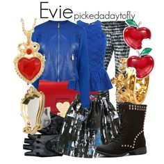 A fashion look from July 2015 featuring McQ by Alexander McQueen mini skirts, NIKE activewear pants and Valentino shoulder bags. Browse and shop related looks. Evie Descendants, Descendants Costumes, Disney Themed Outfits, Disney Bound Outfits, Halloween Costumes For Girls, Costumes For Teens, Evie Costume, Disney Inspired Fashion, Disney Fashion