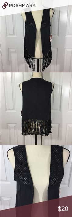 Super Cute Women's BOHOFringed Black Vest New with tags Women's Black fringed vest size M/L. Super fun and cute. Perfect for this season! Pet free and smoke free home. Please check out my other listings! Thanks ❤️❤️❤️ Mossimo Supply Co. Tops