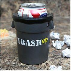 TRASHED TRASH CAN DRINK KOOLER Black Cooler Coozie Koozie Gag Gift Punk Beer Cup ***FREE U.S. SHIPPING***