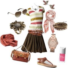 Like the big picture of this outfit. Earthy colors always make me think fall, but I think this look has spring all over. I'd probably do a long dark brown short instead of the skirt though.