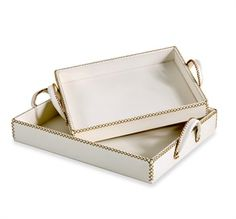 Interlude Home - Greer Leather Trays - Cream