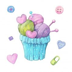 Watercolor Cupcake Made Of Balls Of Yarn And Knitting Needles : Watercolor cupc. Watercolor Cupcake Made Of Balls Of Yarn And Knitting Needles : Watercolor cupcake made of ribbon balls Knitting Needles, Knitting Yarn, Kawaii Doodles, Picture Logo, Personalized Christmas Gifts, Cute Illustration, Cute Stickers, Crochet Designs, Background Patterns
