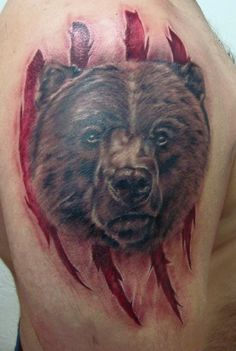 тату медведь, кадьяк, тату реализм, bear tattoo, tattoo realism, kodiak,