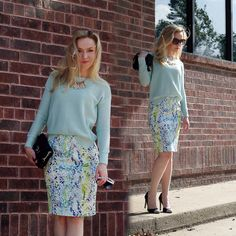 #summer #summerstyle #turquoise #sweater #cotton #pencilskirt #watercolor #pastel #green #blue #white #fresh #casual #classic #heels #quilted #shoulderbag #russian #russiangirl #gold #necklace #petites #petitestyle #blonde  See more on My BLOG http://annrobiefashion.com/