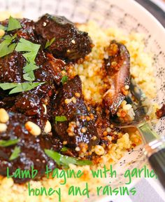 Moroccan lamb tagine with garlic, honey and raisins. So good, they should call it candy! Read Recipe by perfectpantry Morrocan Food, Moroccan Dishes, Moroccan Recipes, Morrocan Lamb, Moroccan Desserts, Turkish Recipes, Ethnic Recipes, Lamb Recipes, Cooking Recipes
