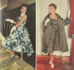 The Australian Women's Weekly 1959. vintage fashion style color photo print ad dress cocktail sheath column brown wrap satin floral fit flare full skirt blue white green shoes gloves 50s 60s
