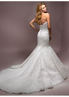 Elegant Exquisite Sain Mermaid Strapless Wedding Dress