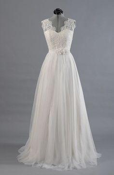 Princess A Line V Neck Empire Waist White Lace Wedding Dresses,Custom Made Wedding Dress