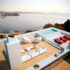 siesta-twin-houses, patio of my dreams! Ibiza, Outdoor Spaces, Outdoor Living, Rental Solutions, Pool Designs, Jacuzzi, Future House, Interior Architecture, Outdoor Furniture Sets