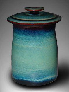 seafoam green ceramic cookie jar - Dunnmorr Studio
