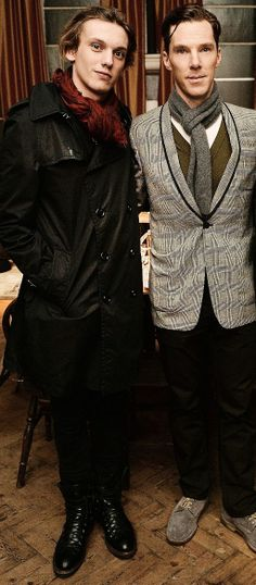 Benedict Cumberbatch with the guy from The Mortal Instruments movie... (temporairly forgot his name..)