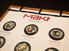 Menu for MAKI sushi & saki lounge. The menu is double-sided and binded to cherry wood using the Japanese stab-binding technique.