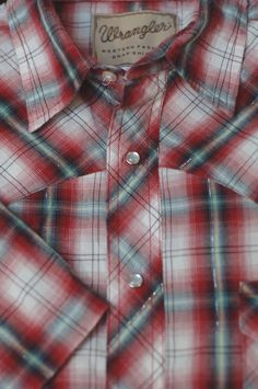 633a245c6 Wrangler Men's Red Blue & White Check Western Snap Cotton Casual Shirt L  Large #fashion
