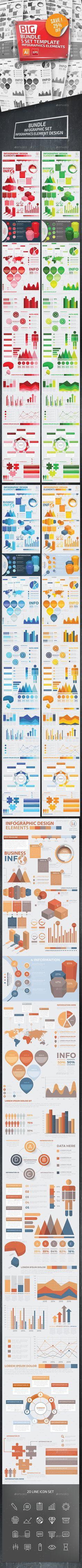 Bundle 5 Infographic Templates - #Infographics Download here:  https://graphicriver.net/item/bundle-5-infographic-templates/20357798?ref=alena994