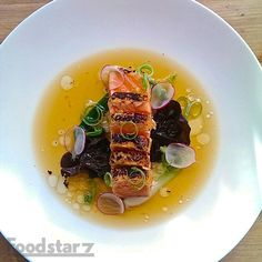 Salmon Tataki, Miso, Woodear Mushrooms, Bamboo shoots, Green Onion, Radish