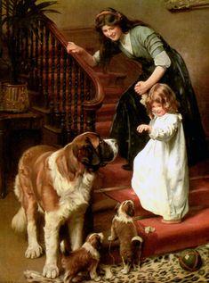 """Good Night"" (1911) von Arthur John Elsley (geboren am 20. November 1860 in London, gestorben am 19. Februar 1952 in Tunbridge Wells), englischer Maler."