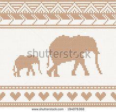 gebreide patroon met olifant naadloze vector illustratie. Het concept van Kerstmis voor banner, aanplakbiljet, billboard of website. New Year retro wenskaart en achtergrond. Afbeelding voor uitnodiging