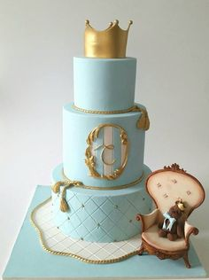 Little prince Christening cake Baby Cakes, Baby Shower Cakes, Pasteles Shabby Chic, Torta Angel, Cake Designs For Boy, Prince Cake, Cake Story, Royal Cakes, Teddy Bear Cakes