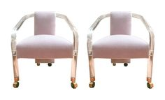 Pair of Sculptural Lucite & Mohair Chairs