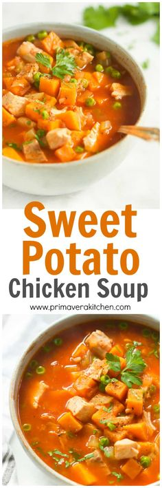 Low Carb Meals This hearty, healthy and comforting Sweet Potato Chicken Soup is made in less than 30 minutes. It's low-carb, gluten-free and paleo-friendly too. Paleo Soup, Healthy Soup Recipes, Cooking Recipes, Sweet Potato Soup Healthy, Low Carb Sweet Potato, Vegetarian Chicken, Chicken Soup Recipes, Healthy Chicken Soup, Chicken Soups