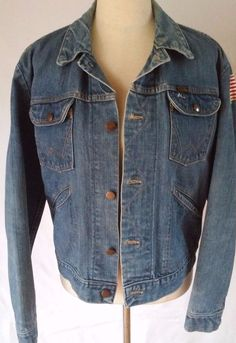 Vintage WRANGLER JEAN Jacket Multiple Pockets Patches Mens Size 42 #Wrangler #JeanJacket