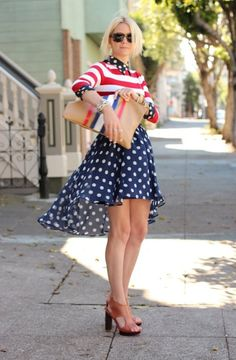 Patriotic high-low skirt with striped top.