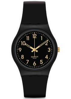 SWATCH GOLDEN TAC UNISEX WATCH £32.00  The Swatch Ladies Golden Tac Watch has a black plastic strap and a black dial. Is water resistance. #swatch #watch