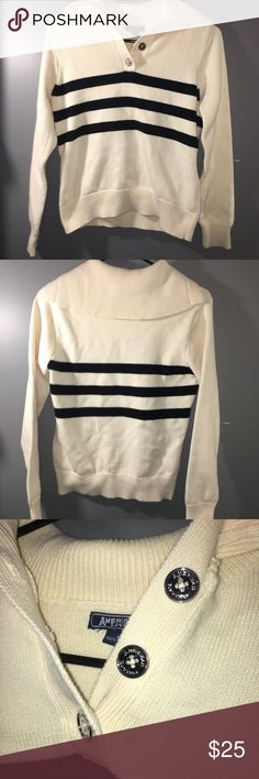 "Cream American Living Cowl Neck Sweater Women's cream sweater with black stripes, size Medium from the brand American living. I saw no flaws or stains on it, it's in great condition. Has 3 silver buttons along the Neck to either button or leave loose.  ❗️IF YOU'RE CURIOUS ABOUT SHIPPING, PLEASE CHECK OUT MY ""MEET THE POSHER"" LISTING FOR INFORMATION❗️ American Living Sweaters Cowl & Turtlenecks"