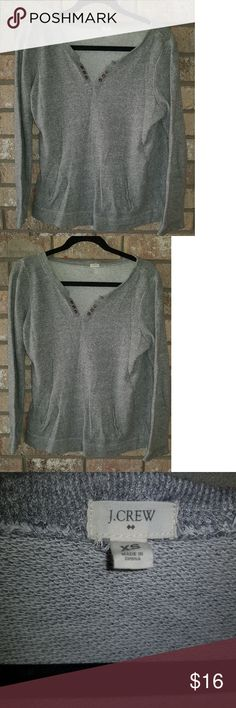 """J.Crew Grommet Vneck Sweat Shirt Long Sleeve Front J.Crew Grommet Vneck Sweat Shirt Long Sleeve Front Pocket Size XS EUC No stains , rips or snags Excellent condition 20"""" Bust pit-pit 24"""" Length  See pictures J. Crew Tops Sweatshirts & Hoodies"""