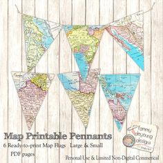 Map Banner *Map Pennant Flags* Print Your Own map garland for custom party decorations, graduation, wedding, birthday, places you will go! Printable Maps, Printable Designs, Printables, Pennant Banners, Bunting Banner, Operation Christmas Child, Letter Size Paper, Travel Themes, Baby Shower