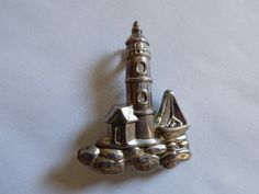 Vintage silver tone Lighthouse combination brooch and by joegems66