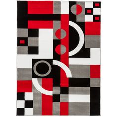 This unique rug features a geometric pattern in a bold pattern with carving around the shapes. This rug is constructed of super heavy heat-set polypropylene, making it simple to clean, extremely stain resistant, colorfast, and shed-free. Black And Red, Geometric Art, Abstract Pattern, Design, Pattern Design, Art Painting, Painting, Art, Abstract