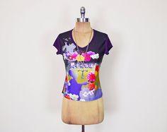 #Vintage #90s Purple #Asian Print Top #Japanese Print Shirt #Floral Print Blouse Photo Print 90s Top 90s #Grunge Top Club Kid Top Women M Medium #ClubKid #Etsy #EtsyVintage #TrashyVintage @Etsy $28.00