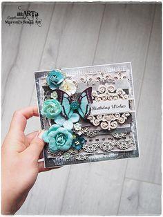 Shabby Chic Vintage Handmade Card, Happy Birthday Card , 3D greeting card, grey…