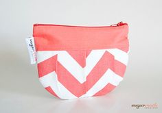 Coral Chevron Pleated Make Up Bag by sugarrushcreative on Etsy, $8.00