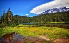 Scarica sfondi primavera, paesaggio di montagna, lago, foresta, montagne, usa