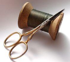 Antique Henckels Sewing Scissors & vintage spool of thread