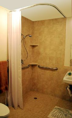 source for ceiling-mounted Shower Rods: Handicapped / Barrier Free Ceiling Shower Curtain Rod