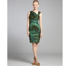 Kay Unger moss green floral metallic sleeveless dress