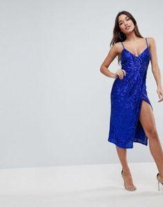 ASOS   ASOS All Over Sequin Cami Midi Pencil Dress