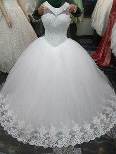 Item Type:Wedding Dresses Back Design:Zipper Silhouette:Ball Gown Built-in Bra:Yes Decoration:Beaded,Pearls Train:Court Train Sleeve Wedding Dress Tea Length, Wedding Dress Backs, Western Wedding Dresses, Wedding Dresses For Girls, Princess Wedding Dresses, Elegant Wedding Dress, Bridal Dresses, Gown Wedding, Elegant Dresses