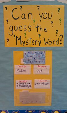 Quick and fun way to get vocabulary in!  I put the mystery word in the blue envelope with just the first letter showing. Each day I add a new clue, a synonym, an antonym, examples or using it in a sentence and the definition. Each day the kids can guess what the word is!