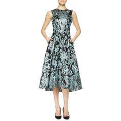 Lela Rose Ikat Brocade Full-Skirt Dress (2 619 AUD) ❤ liked on Polyvore