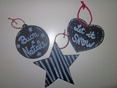 Decorazioni per l'albero di natale effetto lavagna/ fake chalkboard christmas tree decorations
