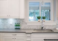 White Kitchen Grey Countertop large white subway marble kitchen backsplash tile with black