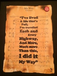 Frank Sinatra My Way, song lyric, typographic art, sheet music art, gift idea,wall art, home decor, gift for her/him, A4/A3