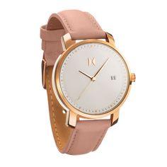 MVMT Ladies Watch, Rose Gold/Peach Leather